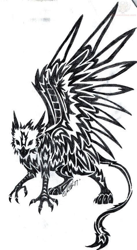 griffin tribal tattoo griffin vector illustrations vectors typeface