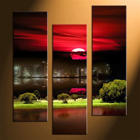 decoration piece 3 piece black canvas city grass pictures