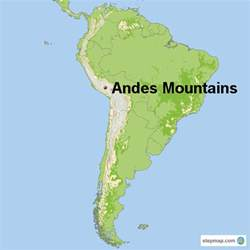 south america map with mountains south america andes mountains map