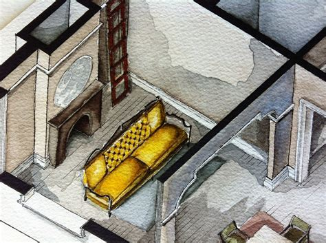watercolor floorplans from recent television shows and films set design film girls floor plan architecture watercolor