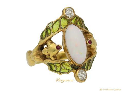 art nouveau opal ruby and diamond ring fren ref 22195