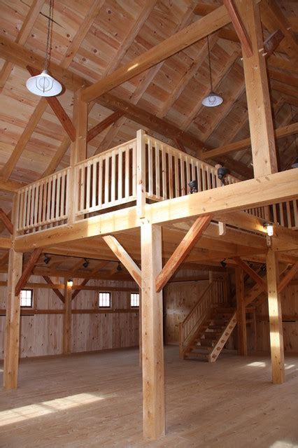 barn with loft barn style loft farmhouse family room portland maine by black timberworks llc