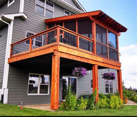 cedar pergola covered cedar deck  polycarbonate roof
