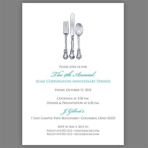 dinner thank you card template corporate dinner invitation company dinner invitation