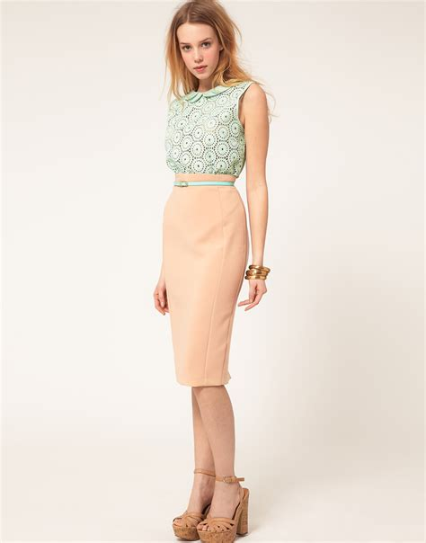 river island high waist pencil skirt in pink lyst