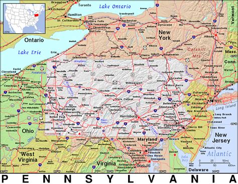 Pennsylvania Search Free Ohio State Map A Large Detailed Map Of Ohio State Usa Adanih