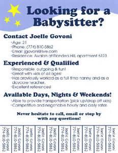 blank babysitting flyers images