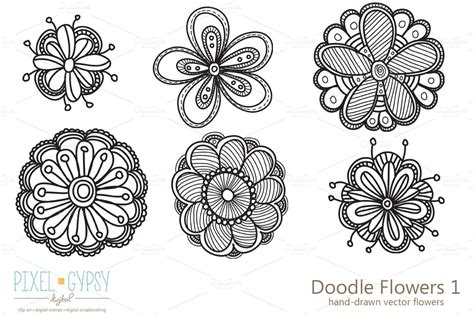 flowers doodle doodle flowers 1 vector illustrations on creative market