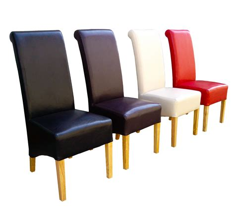Best Dining Chairs Premium Quality Dining Chairs Faux Leather Roll Top Scroll High Back Wood Legs Ebay
