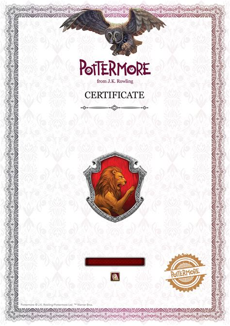 hogwarts certificate template image gryffindor certificate pottermore g harry potter