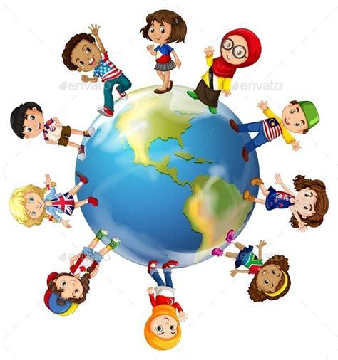 Hatf World Weld Tshirt Muslim 5 children standing on globe by blueringmedia graphicriver