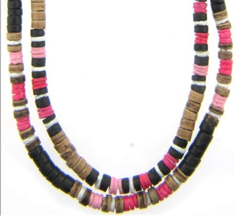 puka bead necklace 6x pink puka shell bead necklaces with brown coco