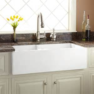 bowl farmhouse kitchen sink 36 quot risinger 60 40 offset bowl fireclay farmhouse sink has