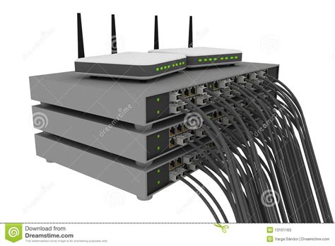 Router Switch switch rack with cables and routers stock illustration image 13101163