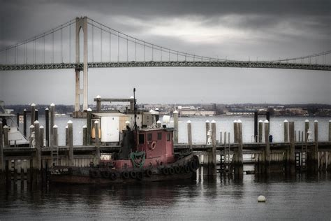 tugboat bridge red tugboat and newport bridge ii photograph by joan carroll