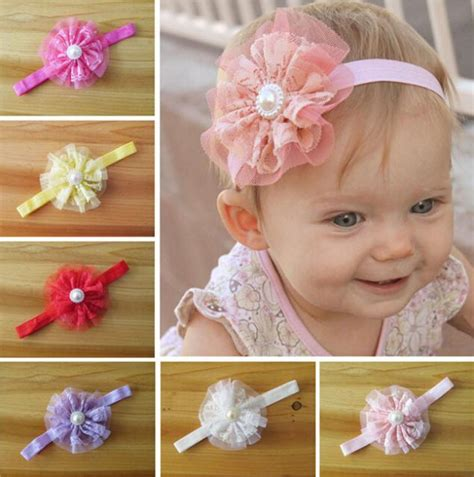 infant flower headband babies pearl lace hairband toddler 60 pcs baby lace flower headbands with pearl center mixed