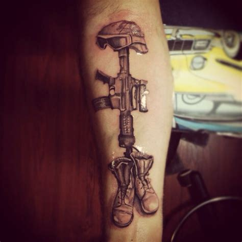 soldier cross tattoo memorial fallen soldier my brain