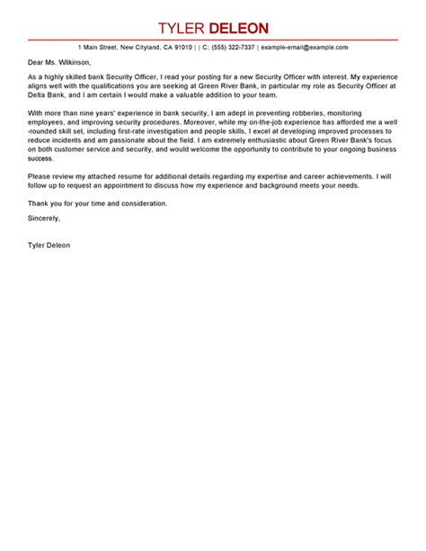 Computer Network Security Officer Cover Letter by Security Officer Cover Letter Sle Cover Letters Livecareer