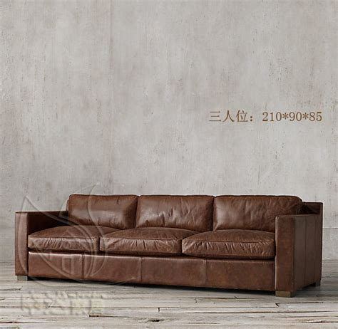 Country Leather Sofa American Country Retro Leather Sofas Imported Wax Paper Single Trio Corner