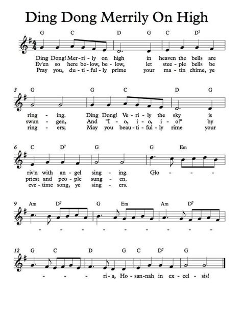 printable lyrics for ding dong merrily on high free sheet music free lead sheet ding dong merrily on