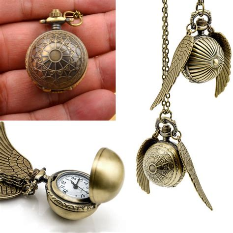 golden fast harry potter quidditch wings golden snitch pendant