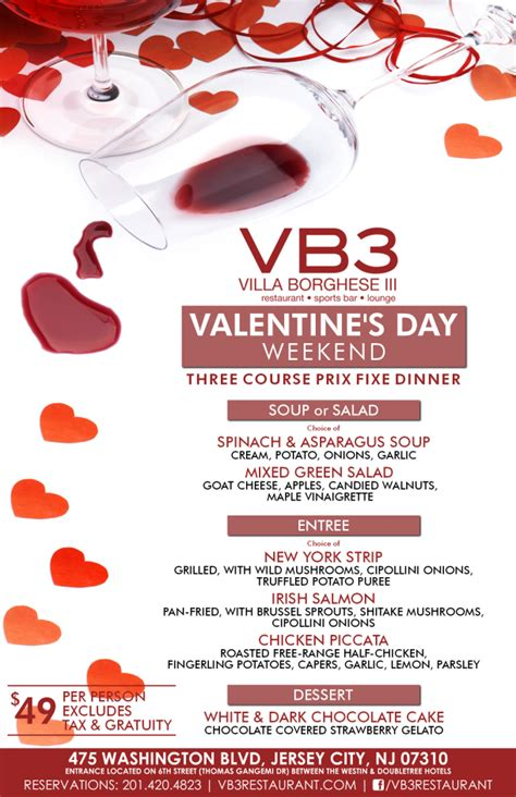 valentines restaurant menu love and great menus are in the air in jersey jersey bites