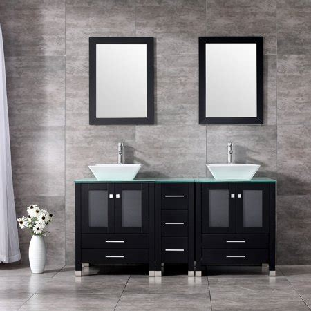 double bathroom vanity combo set double porcelain vessel sink solid wood cabinet glass top