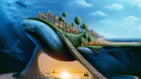 surrealism world of art 0500200408 animals whales surreal dream fantasy whale cities travel ocean sea architecture buildings