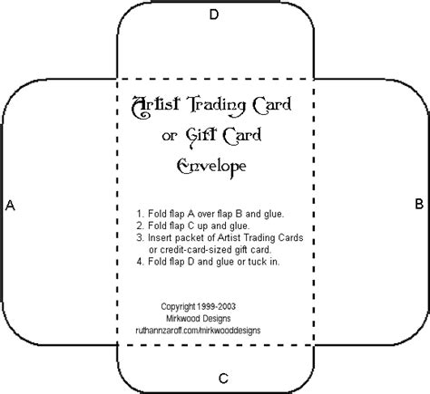 free template for gift card envelope mirkwood designs artist trading card envelope