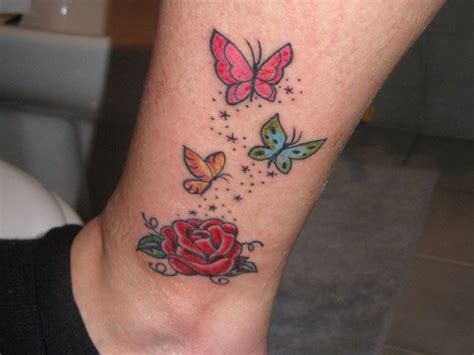 small rose tattoo on ankle butterfly tattoos for and butterfly 25