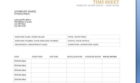 time sheet template printable timesheets