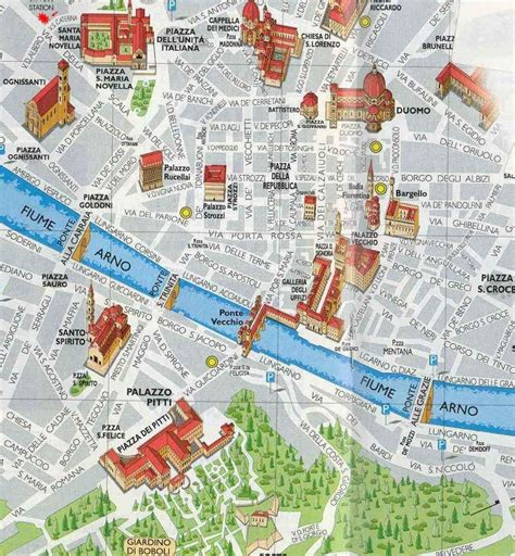 map of florence italy and architecture mainly the real ponte vecchio in florence