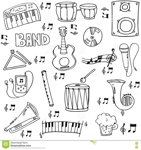 musical doodle free vector doodle of draw element stock vector image