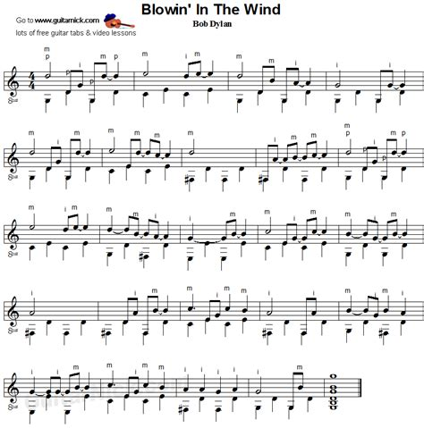 testo blowing in the wind blowin in the wind fingerpicking guitar lesson