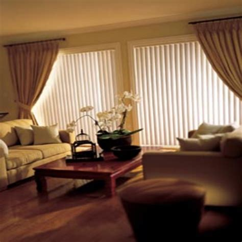 Blinds with valance, hanging curtains over vertical blinds