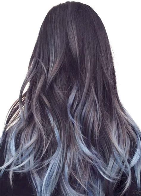black hair with gray blue hair colors ideas 50 magically blue denim hair colors you will love