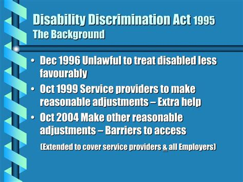 ppt disability discrimination act 1995 the background