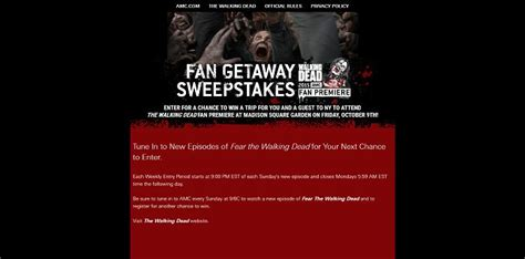 Walking Dead Sweepstakes - watch fear the walking dead for a chance to win