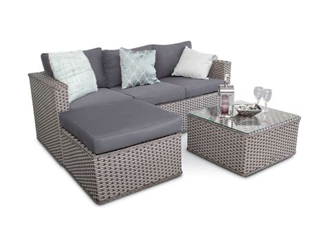 Sofa Outdoor bahamas rattan 3 seater outdoor sofa set 5pc grey