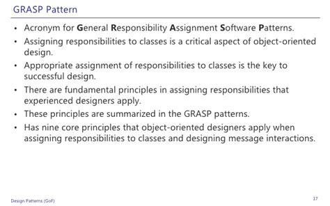 Design Pattern Grasp | design patterns exles in net