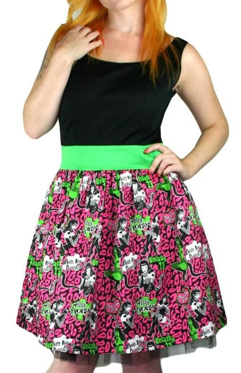 Black Pink Tulips S M L Dress fast clothing meow pink leopard dress black pinup