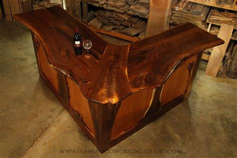 black bar top live edge walnut bar lohr woodworking studio