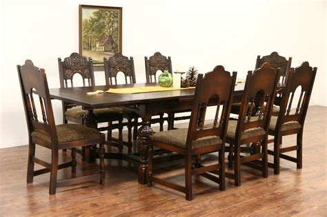 antique style dining table and chairs tudor carved oak 1925 antique dining set table