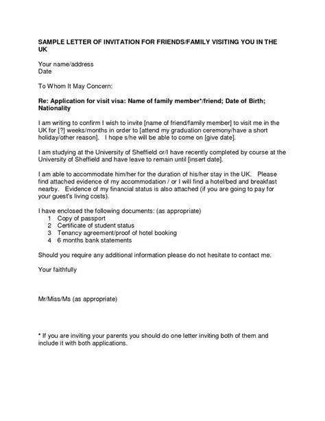 Introduction Letter Sle For Visa Application Letter Of Invitation For Uk Visa Template Resume Builder
