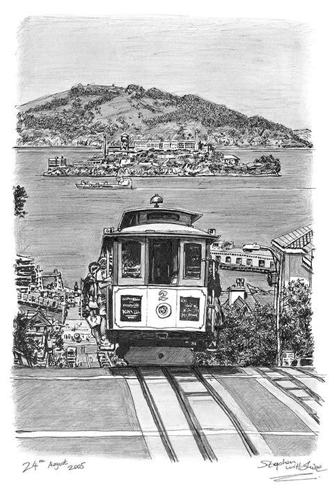 Cable car in San Francisco - Original drawings, prints and