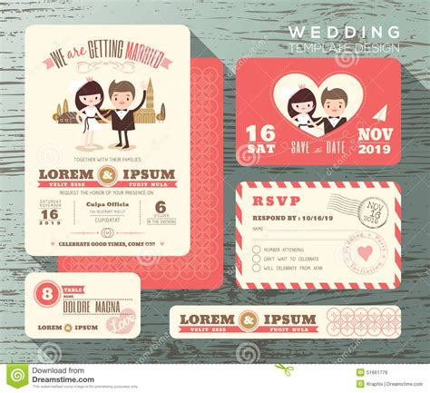 Credit Card Wedding Invitation Template Groom And Wedding Invitation Set Design Template Stock Vector Image 51661776
