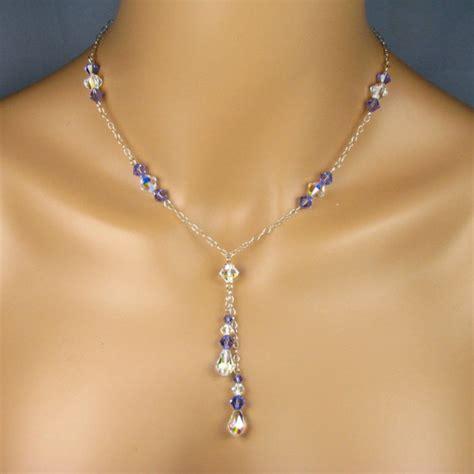 purple prom jewelry set swarovski tanzanite by twobewedjewelry
