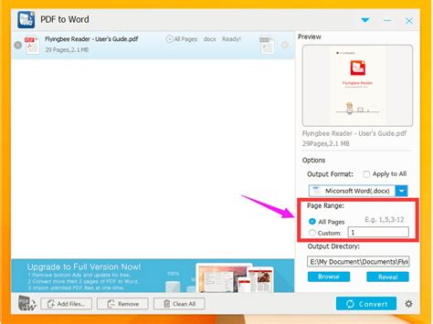 convert pdf to word selected pages how to convert pdf to word document in flyingbee pdf to