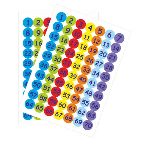 Number Stickers 25mm numbers 1 70 stickers school stickers