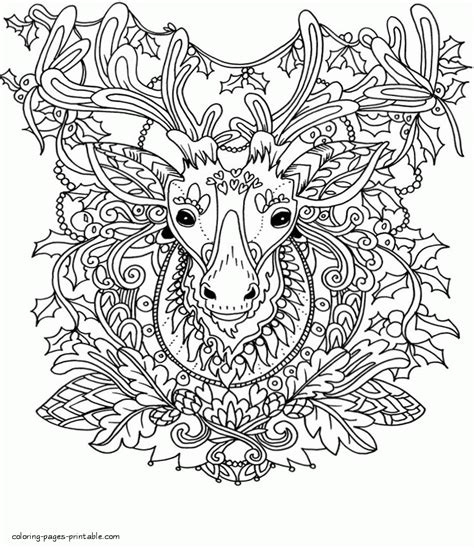 printable christmas pictures for adults reindeer adult coloring christmas pages